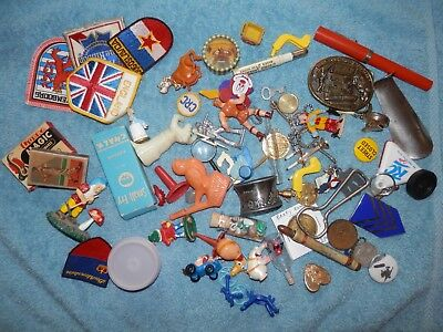 Vintage Junk Drawer Lot Toys Patches Coins Tokens Pins Trinkets
