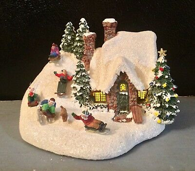 """Thomas Kinkade Lighted Cottage """"The Sleigh Ride"""" 2 AA Batteries EXCELLENT COND"""