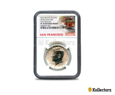 2018 S Silver Kennedy  Reverse Proof 50C Ngc Pf70  Early Releases