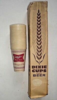 26 Vintage Miller High Life Beer 12 ounce Dixie Cups & Box