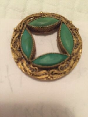 Antique Chinese Export Sterling Silver Gold Gilt Turquoise Pin Brooch