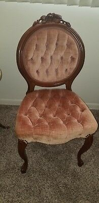 Enchanting Antique Parlor Chair Victorian Seat Tufted Pink Velvet