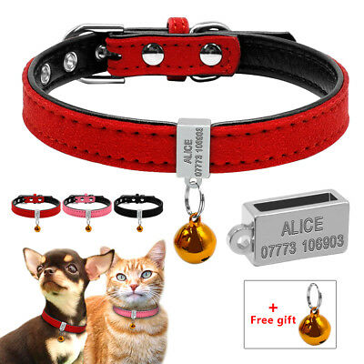 Soft Suede Leather Personalized Pet Dog Collar for Small Dog Puppy Cat Pink Red
