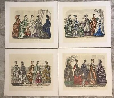 Vintage Kimmel And Forster Godey's Fashions For 1870 Set of 4 printed in Italy
