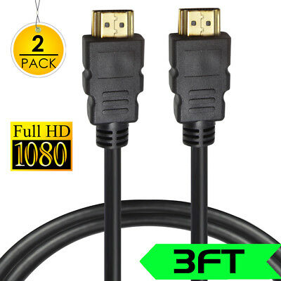 HDMI 1.4 Cable-3ft*2PCS, Supports High-Speed Ethernet/Video/HD/4K 1080p/Xbox One