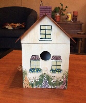 Decorative Wooden Hanging Birdhouse / Storage Box Painted Cottage Copper Roof
