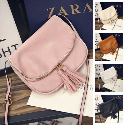Retro Fashion Zipper Tassel Decorated Lady Shoulder Bag PU Leather Messenger Bag