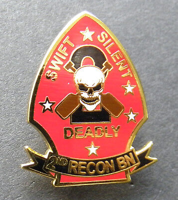 US MARINE CORPS 2nd Recon Battalion LAPEL PIN 1 INCH USMC Swift Silent Deadly