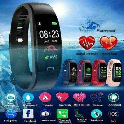 Sports Waterproof Blood Pressure Oxygen Heart Rate Smart Watch Bracelet Tracker