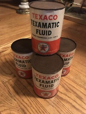 4 EARLY Texamatic Texico Fluid Cans Unopened !
