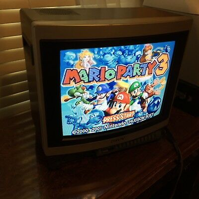 1986 Sony Trinitron 13-inch CRT color TV KV-1395 retro gaming AV INPUT No remote