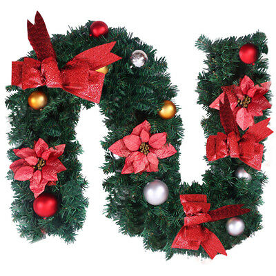 6ft / 9ft Christmas Garland for Pre-Lit stair Fireplace with Lights Decorations
