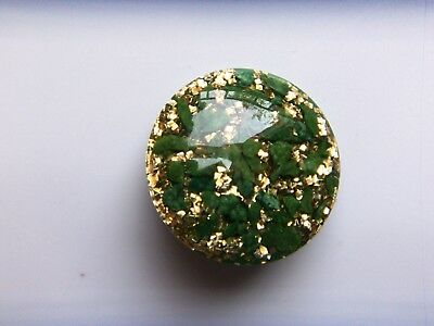 Vtg Lucite or Other Plastic Pin w/Encased Green Crushed Stones & Gold Glitter