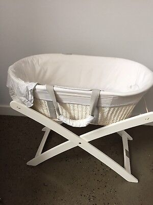 Moses Basket Bassinet with white stand - Natures Purest