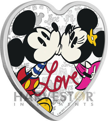 2019 Disney Love Coin - Heart Shaped Coin - Mickey & Minnie Mouse - 1 Oz. Silver