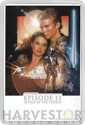 2018 Star Wars Attack Of The Clones Poster Coin - 1 Oz. Silver Coin - Ogp Coa