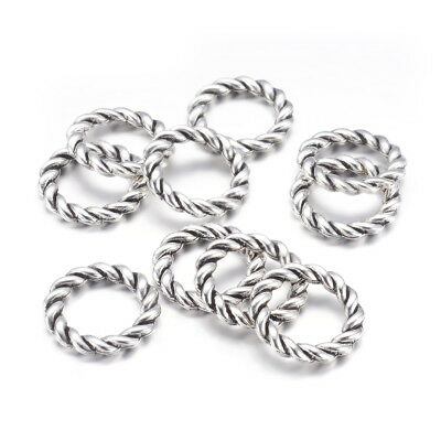 20pcs Tibetan Alloy Twisted Linking Rings Closed Connectors Antique Silver 19mm