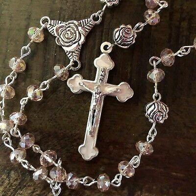 Unique Rosary,Light Pink Crystal, White Cross,woman's,child,communion,Christmas