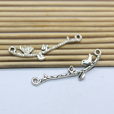 25pcs Exquisite and fashionable design style ancient silver branch bird pendant