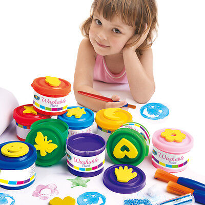 Finger Paint Set 9 Stamps 9 Colors Washable Non-toxic Safe Great for kids age 3+