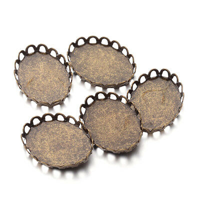 100pcs Antique Bronze Brass Oval Cameo Setting Bezel Cups Lace Edge 18x13mm Tray