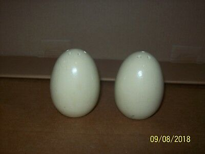 "Egg salt & pepper shakers, wooden, off white 2"" tall"