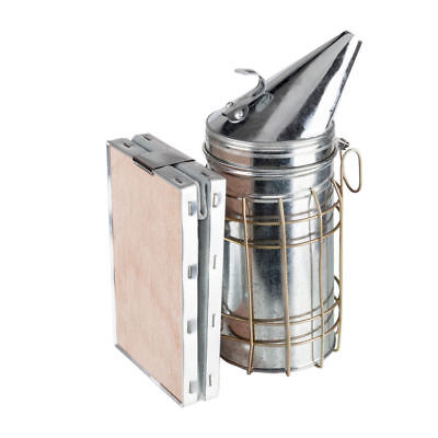 Bee Hive Smoker Stainless Steel w/ Heat Shield Beekeeping Equipment Galvanized