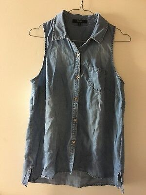 80's Stretch Denim Button Up Shirt Vest, Size 10 By Piper Ladies Shirt, Vintage