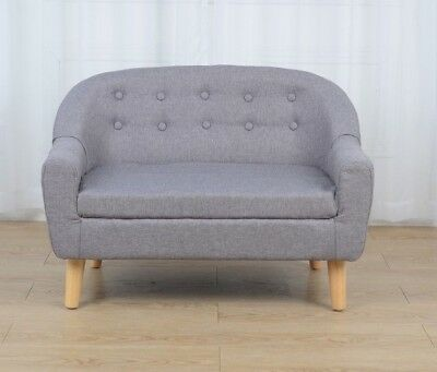 Brand New Grey Linen Kids Sofa Couch Chair Children Toddler Double/Single