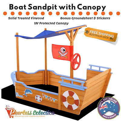 Kids Boat Sandpit Wooden Outdoor Garden Play Sand Pit Toy Box Canopy Children