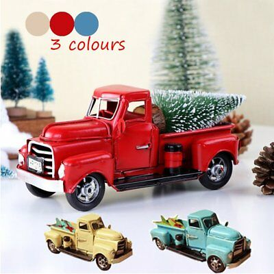 Christmas Vintage Red/Blue/Beige Metal Truck Ornament Kids Xmas Gifts Toy Decor