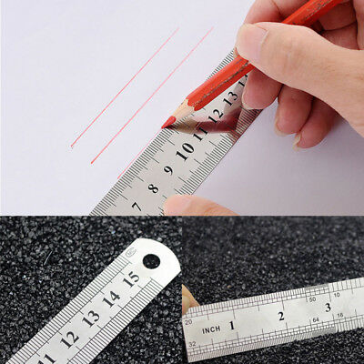 1PC 6'' inch / 15 cm Steel Metal Straight Ruler Precision Scale Dual Shield