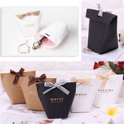 20Pcs Paper Candy Cake Box Gift Bag Wtih Ribbon Wedding Favor Party Decoration