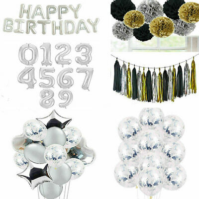 Silver Happy Birthday Bunting Banner Confetti Balloons 18/21st/30/40/50th Party