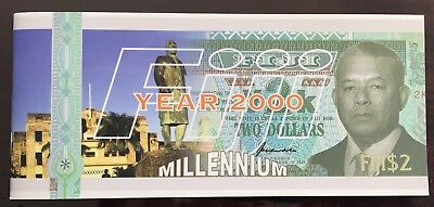 FIJI 2 dollars 2000 year Special Year 2000 issue Brand New Banknote Folder