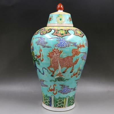Rare Chinese Antique Ming Dynasty Famille Rose Porcelain Lion Mei Vase