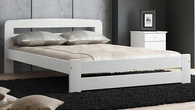 Wooden Bed Frame Pinewood White 140x200cm EU Double Furniture Solid Wood slats