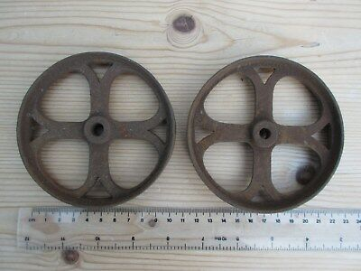 Pair of Vintage Victorian Era Cast Iron Metal Wheels - 11cm diameter