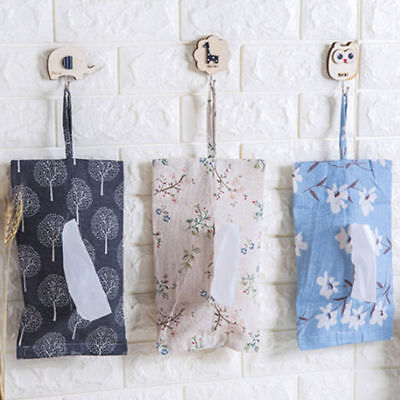 Linen Tissue Box Napkin Cover Paper Storage Holder Case Hanging Toliet Kitchen V