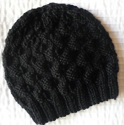 Newborn Baby Beanie. Black. Boy Or Girl Baby. Hand-Knitted By Me.