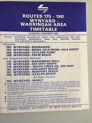 1986 Sydney Buses Timetable 175-190 Warringah District
