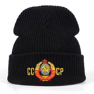91a57eca783 Russian CCCP National Emblem Winter Hat Knitted Unisex Embrpoidery Beanie  Cap