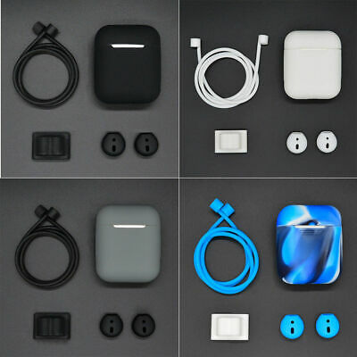 4 in 1 Silicone Case Cover for Apple AirPod Earphone Accessories Anti-lost Strap