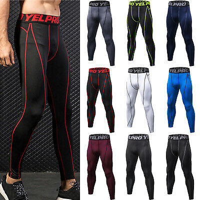 Mens Compression Yoga Pants Base Layer Sport Training Tights Fitness Trousers AU