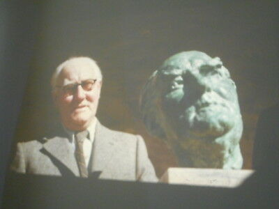 rare SA 1960s slide of Hans Heysen next to his likeness by John Dowie sculptor