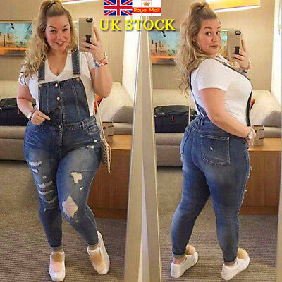 Plus Size Women Ripped Stretch Denim Bib Jeans Jegging Suspender Jumpsuit Romper