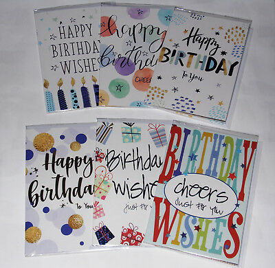MALE BIRTHDAY CARDS X 36, JUST 25p, 6 designs x 6, wrapped, foiled,(B39
