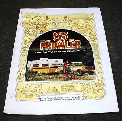 Vintage Sales Brochure 1979 Fleetwood Prowler Travel Trailer RV Dealers