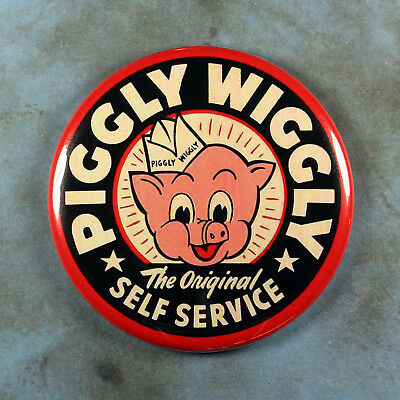 "Vintage Style Advertising Sign Fridge Magnet 2 1/4"" Piggly Wiggly 1970's Black"