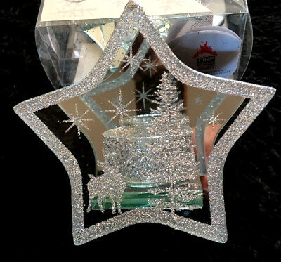 Christmas (Xmas) Star Tea Light Candle Holder Mirrored Glass Gold And Silver